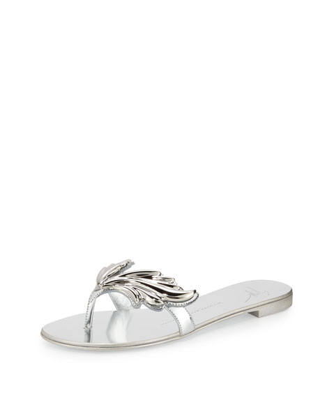 Giuseppe Zanotti Flame Metallic Flat Thong Sandal, Argento