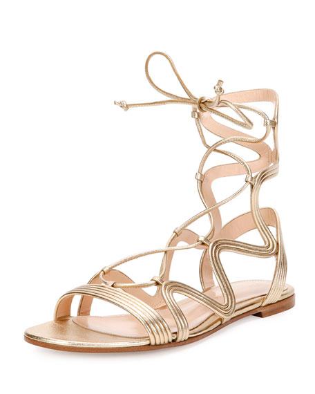 Metallic Leather Flat Gladiator Sandal, Light Gold