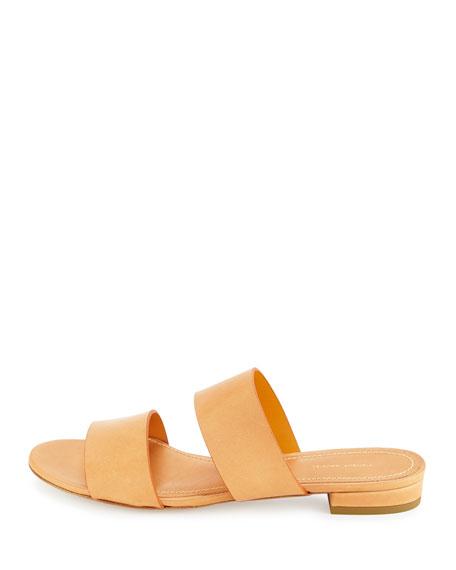 Mansur Gavriel Leather Double Strap Slide Sandal Camello