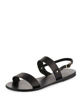 Clio Double-Band Flat Slingback Sandal, Black