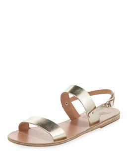 Clio Double-Band Flat Slingback Sandal, Platinum