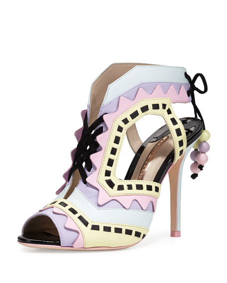 Riko Colorblock Lace-Up Sandal, Aqua Pastel