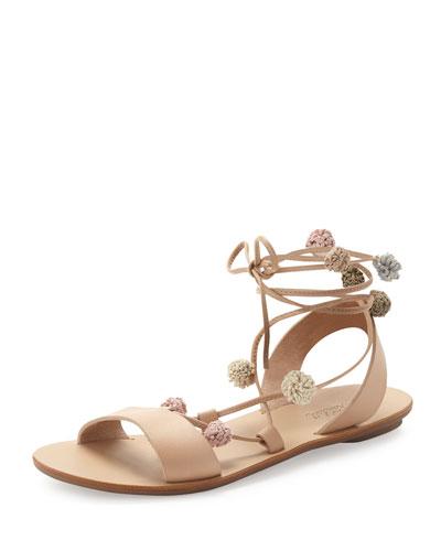 Saskia Flat Pompom Gladiator Sandal, Wheat/Multi