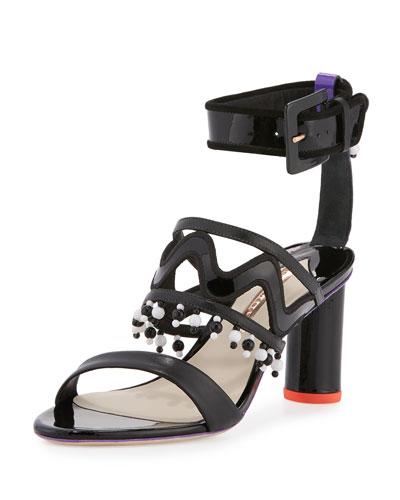 Nereida Leather Tassel Sandal, Black