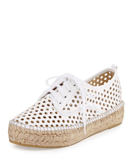Loeffler Randall Alfie Perforated Suede Platform Espadrille Sneakers 6ghFKHPN