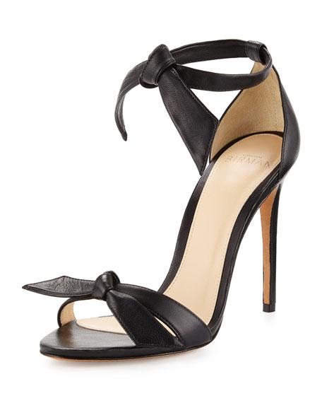 Clarita Leather Ankle-Tie 100mm Sandal, Black