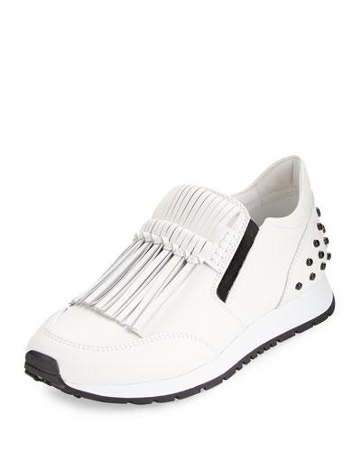 Kiltie Fringed Leather Slip-On Sneaker, White