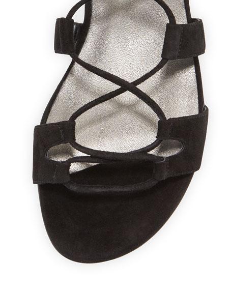 Romanflat Suede Flat Gladiator Sandal, Black