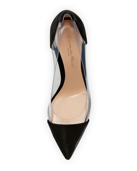 Velvet Cap-Toe Illusion Pump, Black