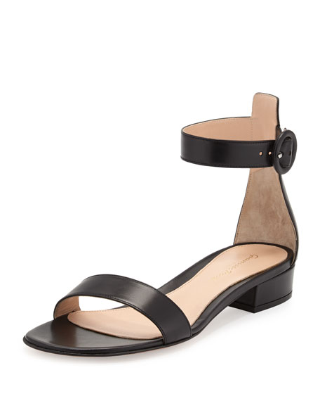 Gianvito Rossi Portofino Leather Ankle-Wrap Sandal, Black