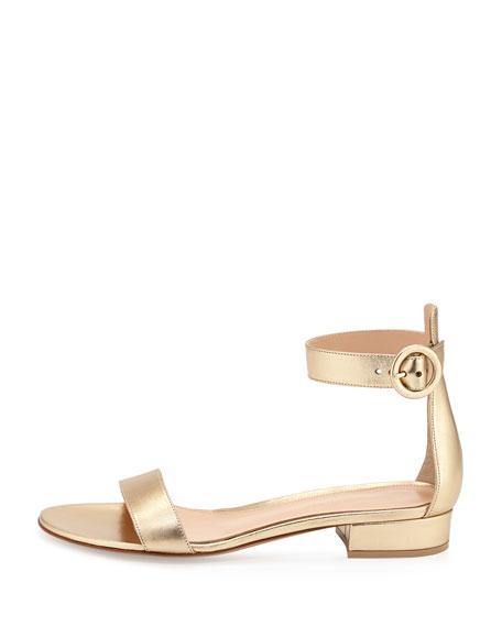 Portofino Leather Ankle-Wrap Sandal, Gold