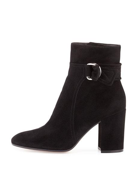 Suede 85mm Block-Heel Boot, Black
