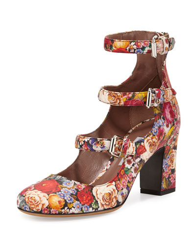 Ginger Floral-Print Three-Strap Pump, Multicolor