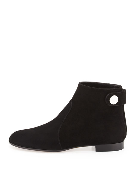 Suede Side-Button Ankle Boot