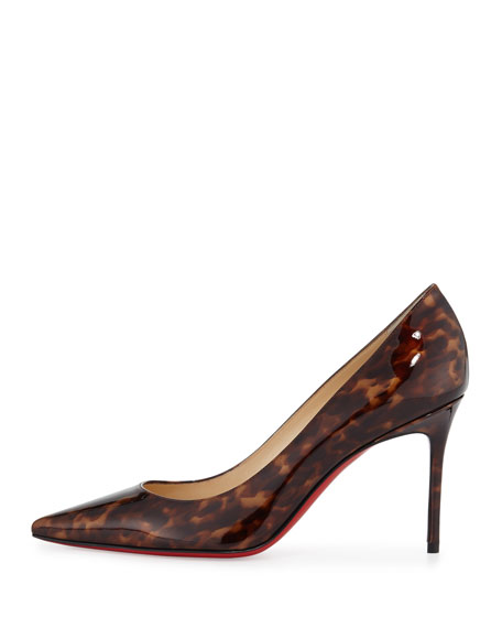 Decollete Leopard-Print Patent Red Sole Pump