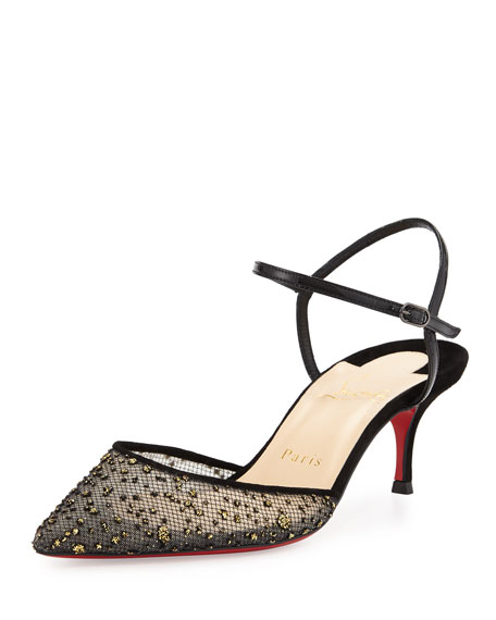 Christian Louboutin Glittered Mesh 55mm Red Sole Pump,