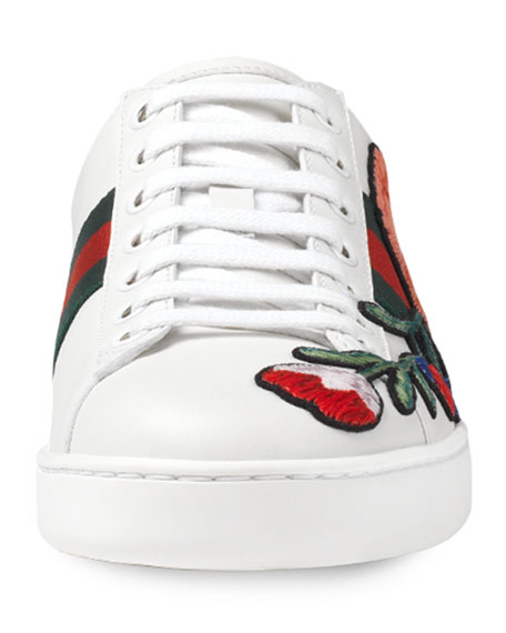 New Ace Floral-Embroidered Low-Top Sneaker, White