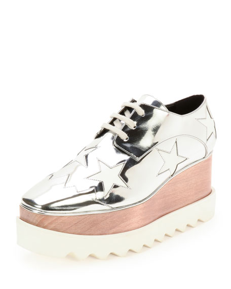 Stella McCartney Elyse Stars Faux-Leather Platform Oxford,