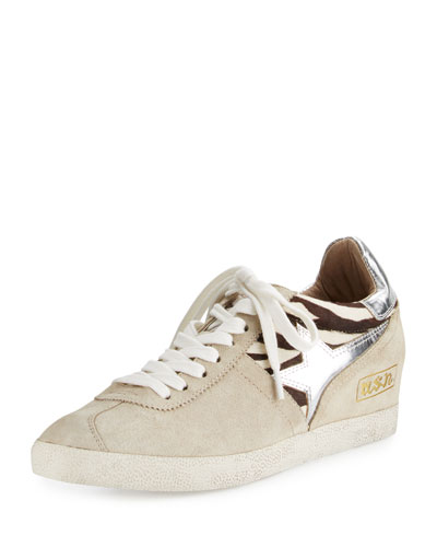 Guepard Suede & Calf Hair Sneaker, Off White
