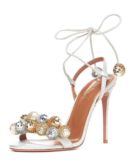 Disco Thing Sequin-Embellished Sandal, Silver
