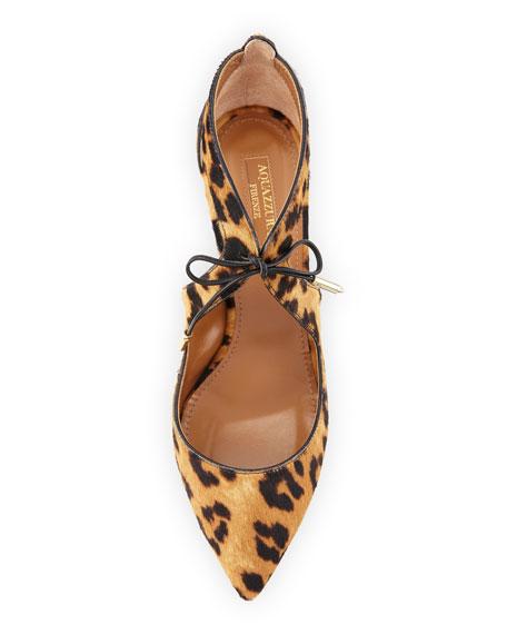 Kimi Calf-Hair Tie-Front Pump, Caramel Leopard