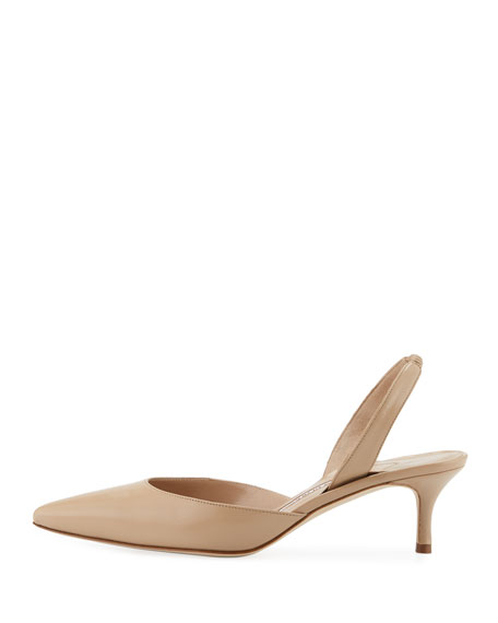 Carolyne Leather Low-Heel Slingback Pump