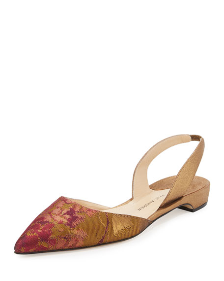 Rhea Suede & Brocade Slingback d'Orsay Flat, Gold