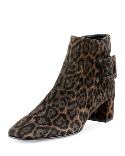 Polly Leopard-Print Suede Bootie, Leopard