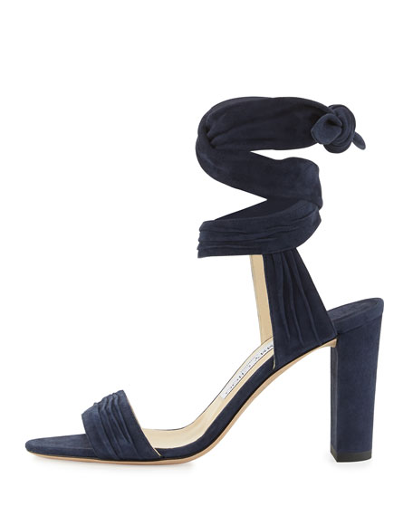 Kora Suede Ankle-Wrap 85mm Sandal