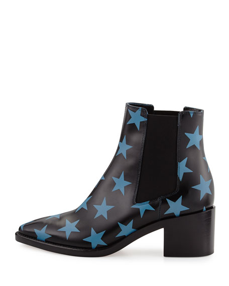 Hologram Star-Studded Leather Boot, Black/Light Blue