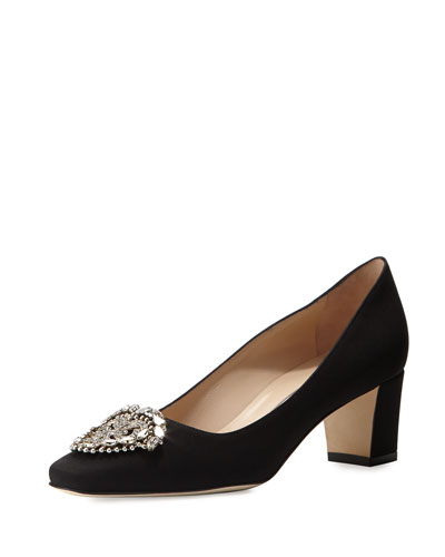 Okkato Crepe Ornament Pump, Black
