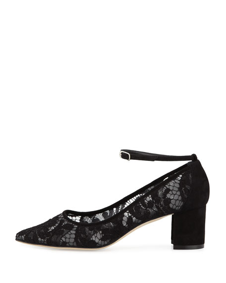 Listony Lace Block-Heel Ankle-Strap Pump, Black