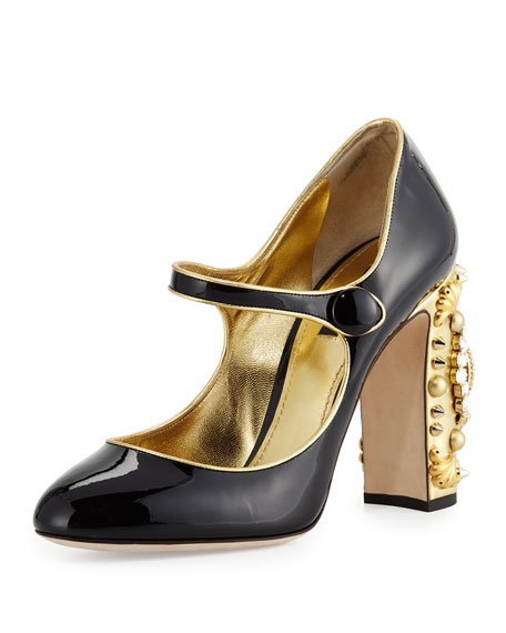 3beda62de5e29 Patent Jeweled Clock-Heel Mary Jane Pump Black/Gold
