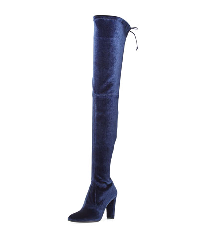 Alllegs Stretch-Velvet Over-the-Knee Boot, Navy
