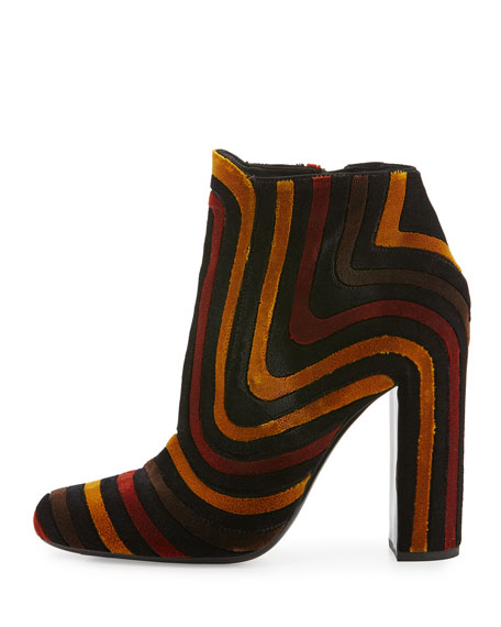 Striped Velour Ankle Boot, Nero/Ecorce/Polle