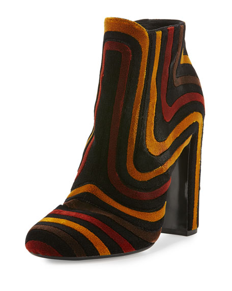 Feel Striped Velour Ankle Boot, Nero/Ecorce/Polle