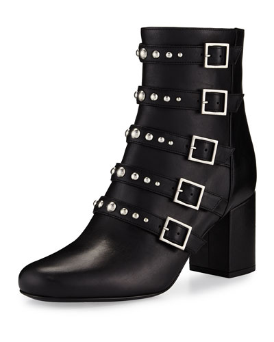 Babies Belted Leather Boot, Black