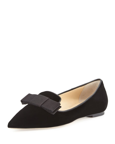 Jimmy Choo Gala Velvet Bow Loafer, Black