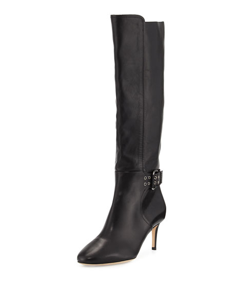 Jimmy Choo Darwin Studded-Strap Leather Tall Boot, Black