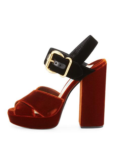 Velvet Platform Crisscross Sandal, Tobacco/Black