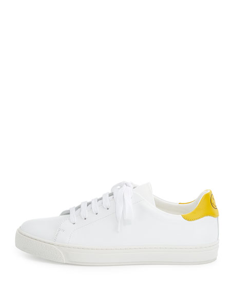 Wink Napa Leather Low-Top Sneaker, White/Yellow