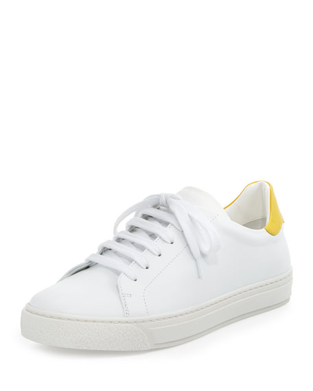 Anya Hindmarch Wink Napa Leather Low-Top Sneaker, White/Yellow