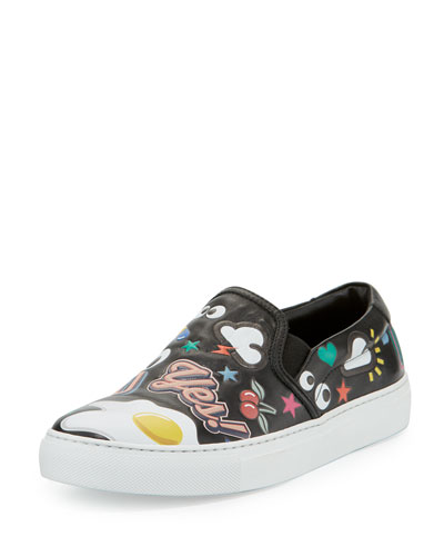SkateB Sticker Slip-On Sneaker, Black/Multi