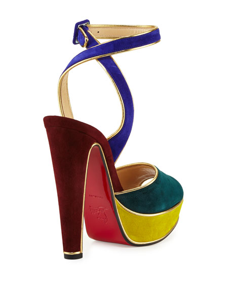 199b8a46135 Christian Louboutin Louloudance Suede Platform Red Sole Sandal ...
