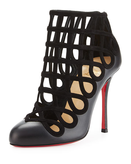 free shipping b9266 a863e Christian Louboutin Cajaboot Loop-Caged Red Sole Bootie, Black