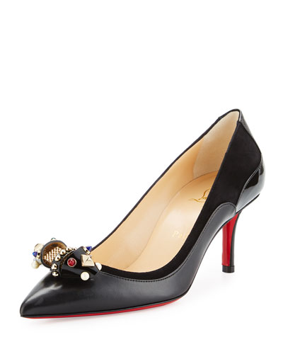 Tudorchic Jeweled-Bow 70mm Red Sole Pump, Black