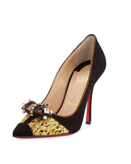Christian Louboutin Tudor Ornament Red Sole Pump, Black