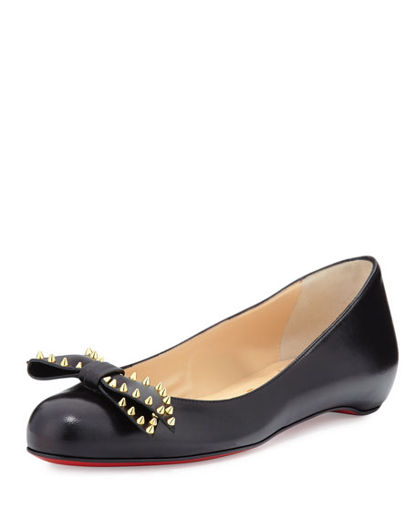 Christian Louboutin Spike-Bow Leather Red Sole Ballerina Flat,