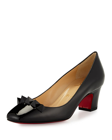 Christian Louboutin Pyramidame Block-Heel Red Sole Pump,