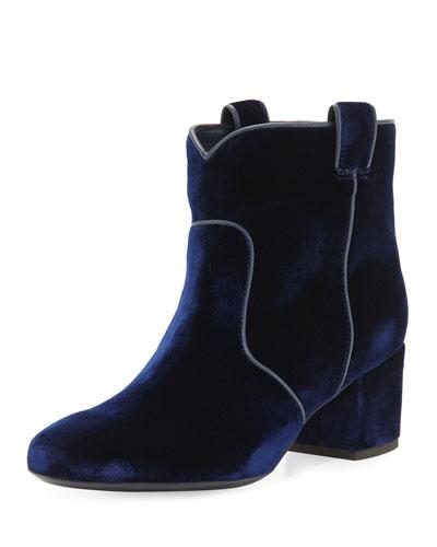 Belen Velvet Western Ankle Boot